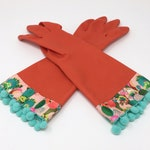 Cacti Latex Cleaning Gloves. Size Small or Large. Succulent Kitchen Dish Glove with Mint Pom Poms. Rubber Cactus Dishwashing Gloves.