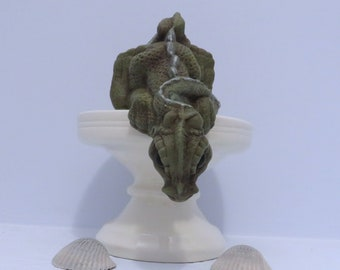 Handmade Ceramic Dragon Figurine / Green Dragon Statue / Dragon Lover Gift / Dragon Decor / Dragon Looking Down / Miniature Dragon