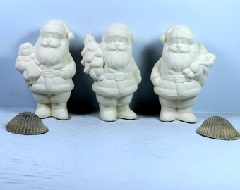 Ready To Paint Ceramic Santa Figurines / Small Santa Statues / Unpainted Bisque Santa Figures / Ceramics to Paint / Paint It Yourself