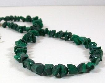 Malachite Chip Necklace | Beaded Necklace | Green Necklace | Southwest Style Necklace
