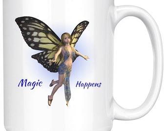 Fairy Ceramic Coffee Mug / Coffee Cup / Fantasy Cup / Beverage Container / Tea Mug / Ceramic Cup / Magic Lover Mug