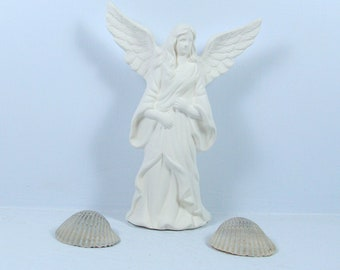 Unpainted Ceramic Bisque Angel Figurine / Angel With Wings Up / Ready to Paint / Ceramics to Paint / Angel Statue / Paintable Ceramics