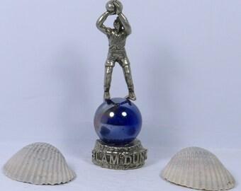 Vintage Pewter Basketball Player Figurine / Pewter Basketball Statue / Pewter Athlete / Gift for Basketball Lover / / Basketball Decor /