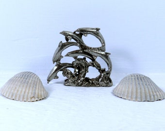 Vintage Pewter Dolphins Statue / Pewter Dolphin Figurine / Dolphin Gift / Dolphin Lover / Dolphin Decor