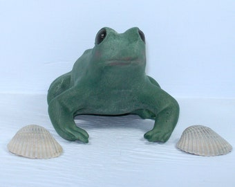 Handmade Ceramic Frog Figurine / Green Frog Statue / Sitting Frog / Frog Decor / Frog Gift / Frog Present / Frog Lover Gift / Farmhouse