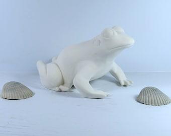 Unpainted Ceramic Bisque Frog Figurine / Frog Statue / Ceramic Frog to Paint / Ready To Paint Frog / Paint It Yourself Ceramics