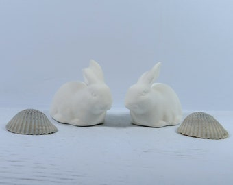 Unpainted Ceramic Bisque Bunny Figurines / Ready to Paint Rabbit Statues / Paint It Yourself Ceramic Bunnies /  DIY Ceramic Bunny Statues