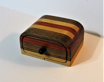 Treasure Box With Secret Drawer Made Of Four Woods