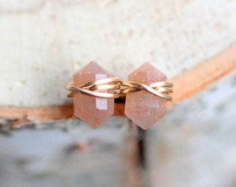 Peach Moonstone Stud Earrings Gold , Rose Gold , Sterling Silver ,  Pointed Genuine Gemstone , June Birthstone - Pike