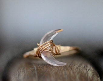 Moon Ring in Gold , Crescent Rose Quartz Stone Wire Wrapped Ring , Rose Gold , Sterling Silver , Boho Jewelry Gifts - Moonbeam Ring
