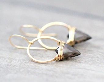 Arrowhead Hoop Earrings , Smoky Quartz Gemstone In Gold , Rose , Sterling Silver , Modern Tribal Fashion - Albatross