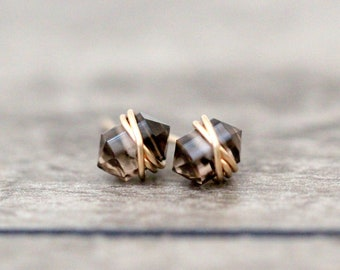 Smoky Quartz Studs , Point Stud Earrings , Gold , Rose Gold , Sterling Silver , Wire Wrapped Gemstone Jewelry , Gifts Under 50 - Pike