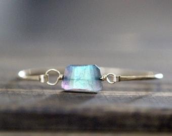 Labradorite Bracelet , Gold Bangle , Rose Gold , Sterling Silver, Stacking Beaded Gemstone Bracelet , Boho Fashion