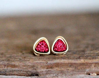Tiny Druzy Studs , Gold , Rose Gold , Sterling Silver Red Gemstone Post Earrings , Minimalist , Christmas Gift Ideas - Micros ( Tamale )