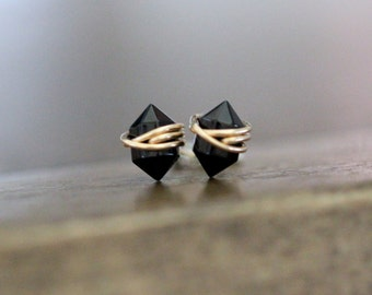 Black Studs , Petite Ebony Agate Gemstone Post Earrings in Gold , Rose Gold , Sterling Silver , Geometric Natural Stone - Pike