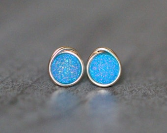 Druzy Studs , Tiny Aqua Light Blue Post Earrings , Gold , Sterling Silver , Rose Gold , Minimalist Everyday Fashion - Micros