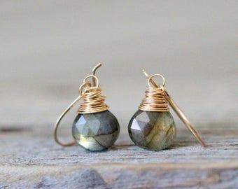 Labradorite Dangle Earrings, Labradorite Gold Drop Earrings, Rose Gold, Sterling Silver, Gemstone Dangle Earrings