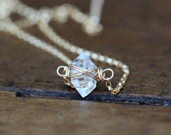 Herkimer Diamond Necklace ,  Dainty Layering Crystal Quartz Solitaire , Gold Silver Rose Gold , Caged Herkimer Choker , Boho Gifts