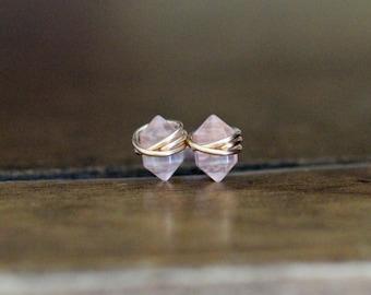 Rose Quartz Studs , Petite Blush Pink Gemstone Post Earrings in Gold , Rose Gold , Sterling Silver , Geometric Natural Stone - Pike
