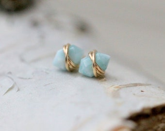 Larimar Gold Studs , Small Point Gemstone , Petite Post Earrings in Gold , Rose Gold , Sterling Silver , Geometric Natural Stone - Pike