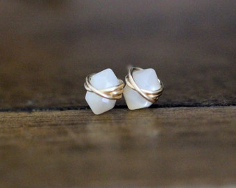 Mother Of Pearl Studs , Petite Stud Earrings in Gold , Rose Gold , Sterling Silver , White Point Gemstone , Natural Stone - Pike