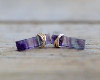 Fluorite Bar Studs ,  Gold Gemstone Boho Stud Earrings , Rose Gold or Sterling Silver , Fluorite Sticks , Minimalist Jewelry