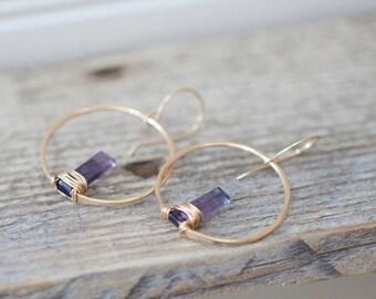 Fluorite Hoop Earrings , Gold Gemstone Bar Dangle Earrings , Rose Gold , Sterling Silver , Boho Wire Wrapped Jewelry - Sunrise