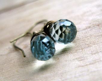 Cyber Monday Sale Blue Gemstone Earrings Wire Wrapped In Antiqued Brass - Blue Quartz Teardrop Earrings Cyber Monday Etsy