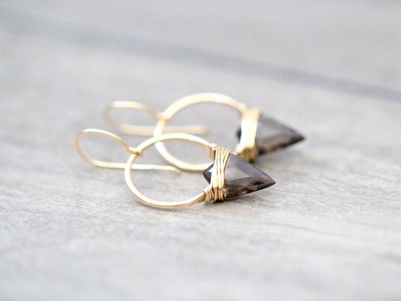Arrowhead Hoop Earrings  Smoky Quartz Gemstone In Gold  Rose image 0