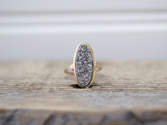 Jewels House Shiny Titanium Druzy Oval Gemstone Silver Plated Handmade Statement Ring US-8