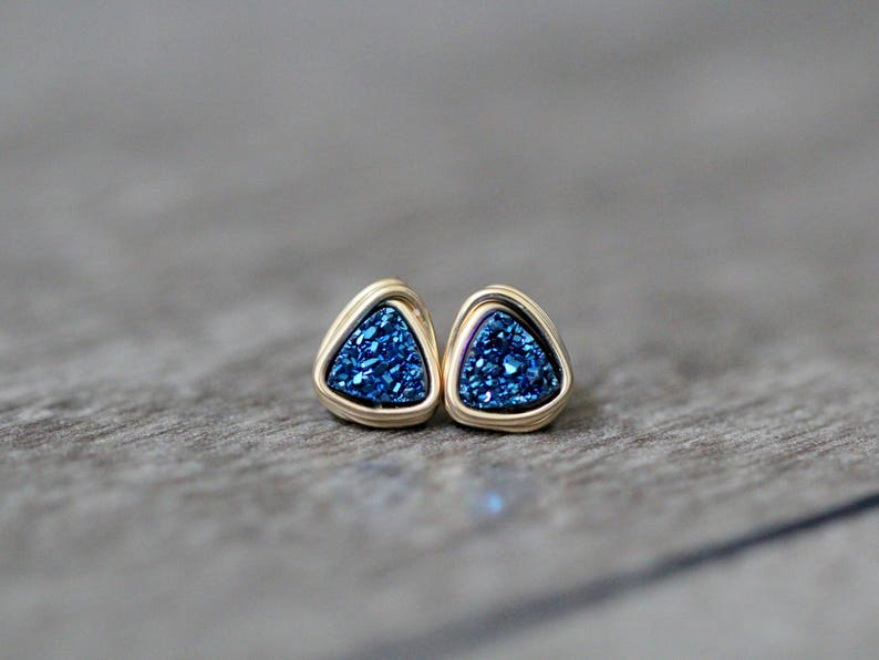 3ff9d0536 Tiny Druzy Studs Post Earrings Gold Sterling Silver | Etsy