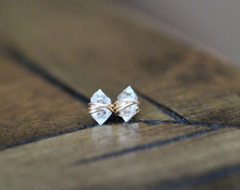Herkimer Diamond Studs , Minimalist Post Earrings , Quartz Gold , Rose Gold , Sterling Silver - As Seen On The Small Things Blog