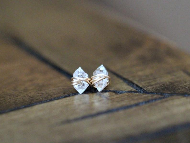 Herkimer Diamond Studs Stud Earrings Minimalist Post April image 0