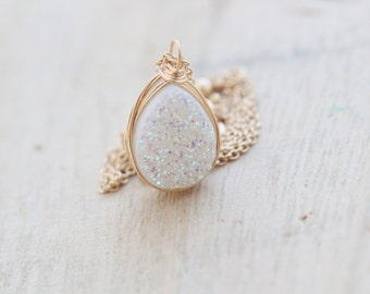 Druzy Teardrop Necklace , Opal White Quartz , Gold , Rose Gold, Sterling Silver , Boho  - Confetti Cream ( As Seen on Law & Order SVU )