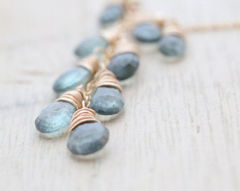 Aquamarine Gold Statement Necklace , Moss Aquamarine Gemstone , Wire Wrapped Cascade , Gold , Rose , Silver , March Birthstone - Waterfall