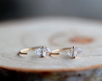 Herkimer Diamond Open Hug Hoops, Huggie Hoop Earrings, 14k Gold Filled, Rose, Sterling Silver, Solid Gold, Saressa Designs