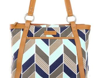 99fd24505c Women s Laptop Bag in Navy and Mint Herringbone Chevron - Laptop Bag