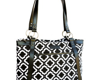 f88fad1ff4 Women s Laptop Tote - Black and White Moroccan Trellis Canvas and Faux  Leather Vegan Laptop Bag