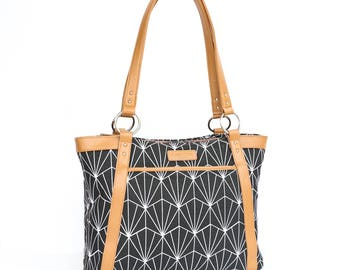 7aa2653e1f Laptop Tote Bag in Black and White Art Deco Pattern with Tan Camel Faux  Leather - Laptop Bag