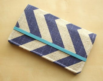 Cell Phone Wallet - Chevron Print - Dark Peacock Blue and Grayish Tan Linen - Smart Phone Wallet