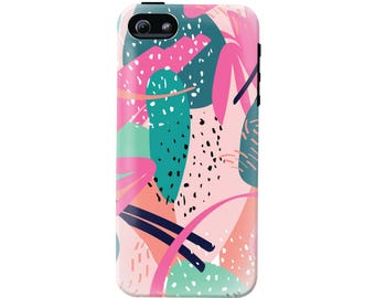 Abstract Art Cell Phone Case (fits all types of phones) - Pink Abstract Pattern - Tough case with rubber bumper and liner