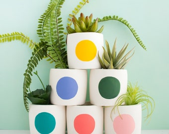 Small Modern Dot Cement Planter - choose your colors