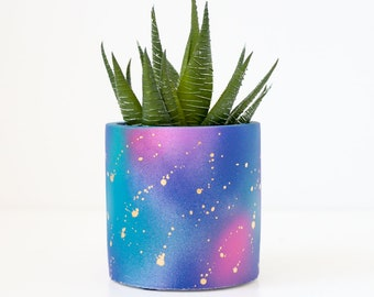 Small Galaxy Painted Gold Splatter Planter - Succulent Planter - Choose your size - Indoor or Outdoor planter