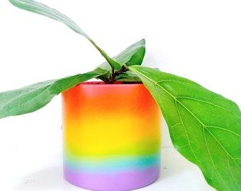 Rainbow Ombre Gradient Cement Planter