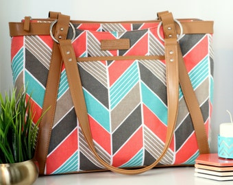 Chevron Laptop Bag in Coral and Turquoise Chevron - Laptop Bag, Laptop Tote, Canvas and Vegan Leather