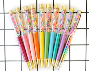 Sprinkle Filled Ball Point Pens - Colorful Gold Stationery Pens