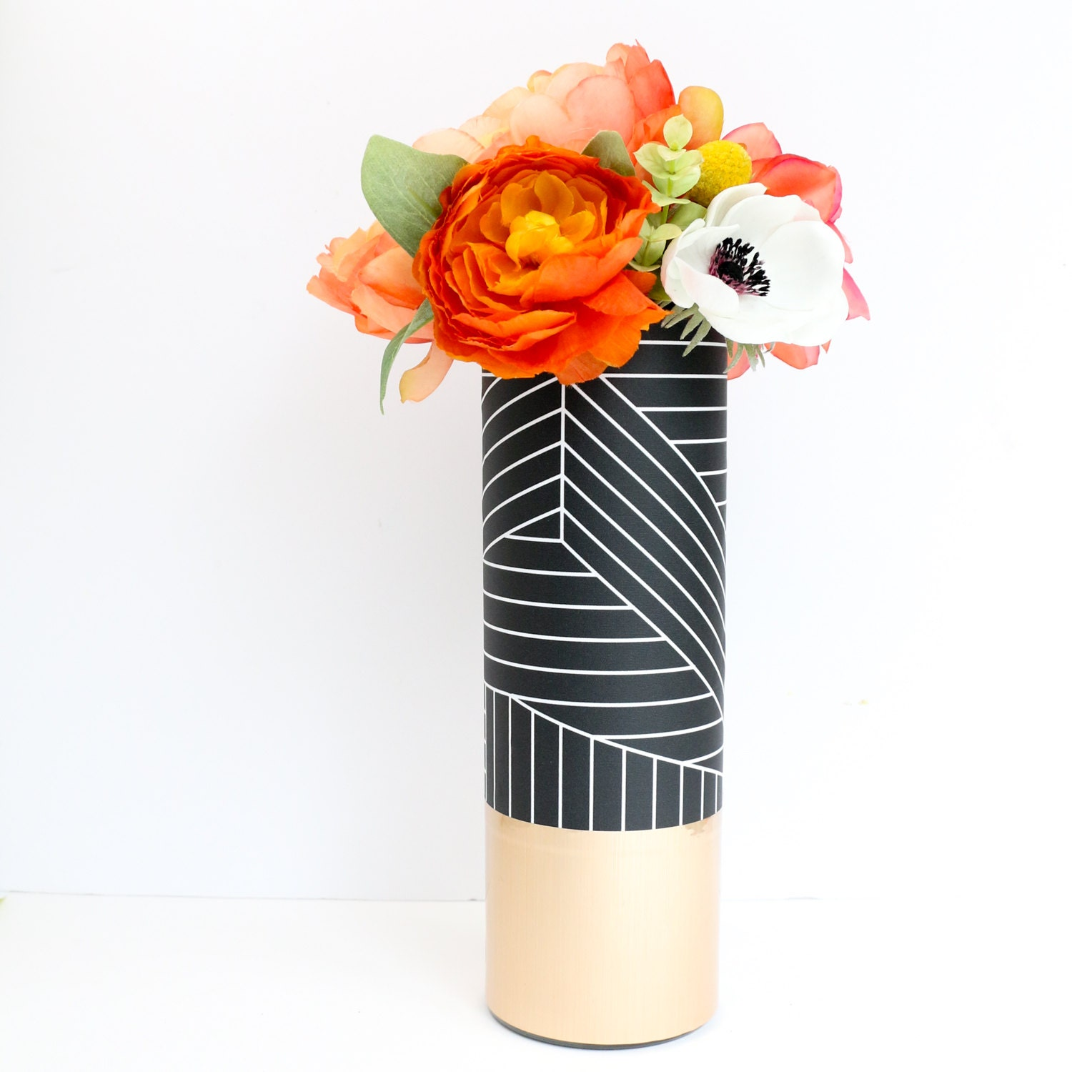 Black And White Graphic Pattern Wrapped Flower Vase With Rose Etsy