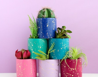 Small Gold Splatter Planter - Cement and Ceramic - Indoor and Outdoor Planter - choose your colors