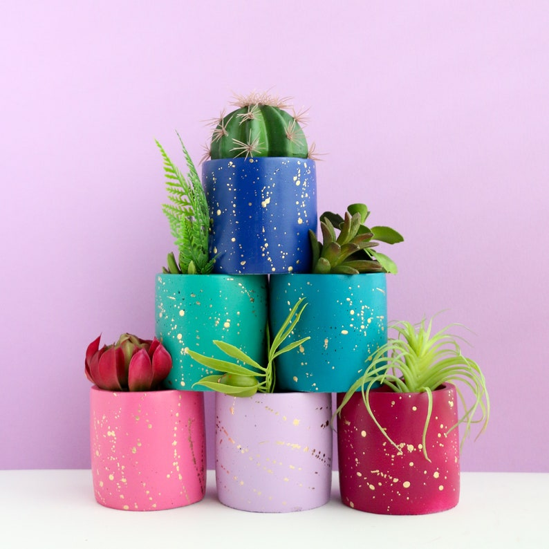 Small Gold Splatter Cement Planter  choose your colors image 0
