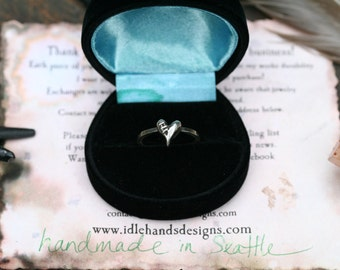 Sutured Heart Ring Sterling Silver Free Domestic Shipping